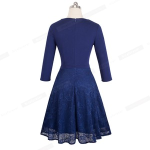Image 4 - Nice forever Vintage Embroidery Flower Lace vestidos Sexy Hollow O Neck A Line Pinup Business Women Flare Dress A072