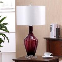 Modern Dining Room Purple Glass Table Lamps Lights Desk Bedside Lighting With Crystal Base office desk lighting fixtures