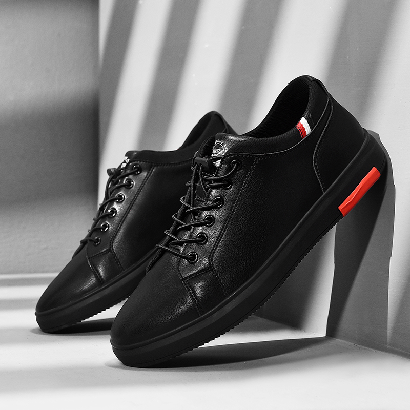 SUROM Brand Leather Casual Shoes Men Classic Lace Up Flats Male Black Comfortable Fashion Walking Sneakers