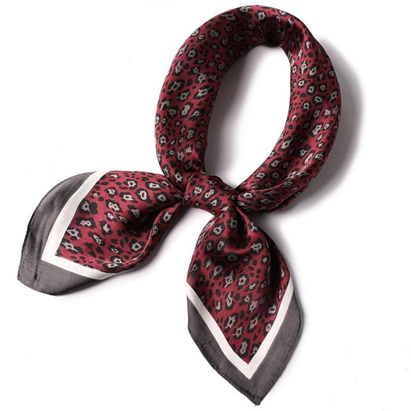70*70cm green red leopard print scarf elegant Square head scarves Wraps for women female satin silk Shawl Foulard bag scarfs