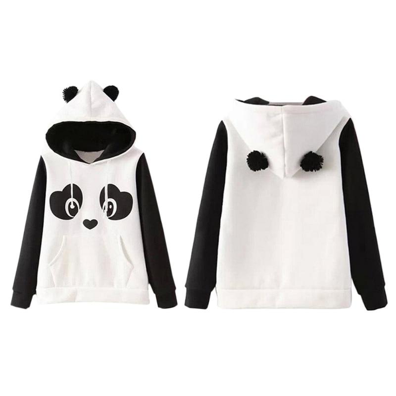 2017 Europe Hippie Style Kawaii Hoodies Cute Panda Cartoon Printed Sweatshirts With Ears Women Hoody Casual Cute hoodies moletom