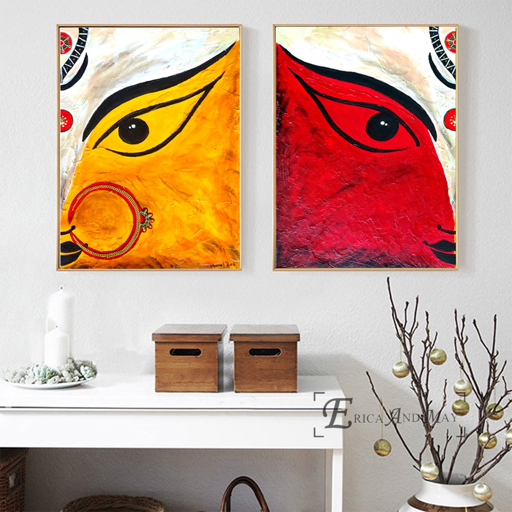 Woman Face From India Tattoo On Sale Poster Wall Painting Living Room Abstract Canvas Art Pictures For Home Decor No Frame