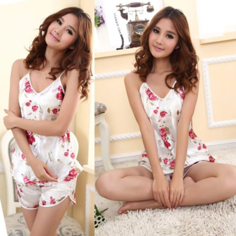 2016 Women Sexy Floral Sleepwear Braces Shirts Shorts Underwear   Pajamas     Sets   Robes Hottest women Nightgowns   Set