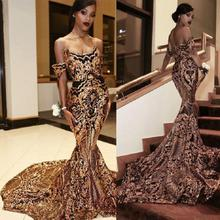 Vintage Arabic Gold Mermaid Evening Dresses 2019 vestidos de fiesta noche African Black Girls Women Formal Dress Prom Gowns
