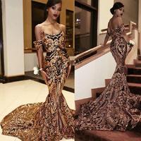 Vintage Arabic Gold Mermaid Evening Dresses 2020 vestidos de fiesta de noche African Black Girls Women Formal Dress Prom Gowns