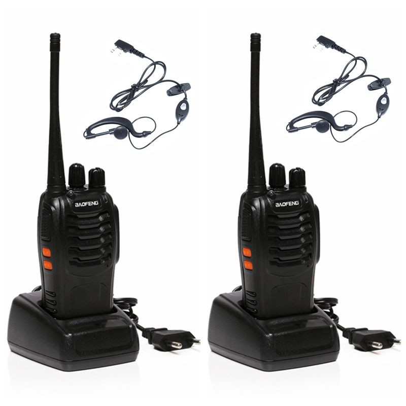 Classical Baofeng BF-888S Professional Walkie Talkie BF 888S 5W Power UHF 400-470MHz Portable Two Way Radio PTT 2PCS + Headset