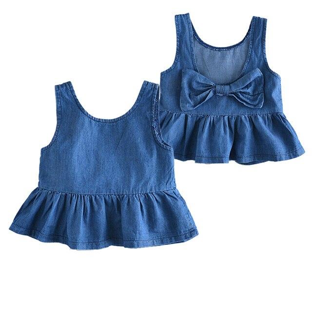 a2cdffc3c98c Newest Summer Baby Girls Dress Sleeveless Denim Infant Clothing High ...