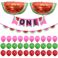 Cute Watermelon Theme Bunting Banner Baby Shower Boy Girl first Birthday Party Decorations One in a melon Christening & Baptism