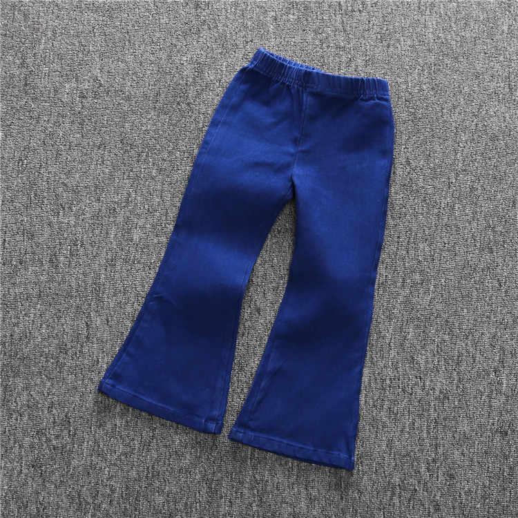 DKZ180 2019 весенние модели для девочек детские мягкие винтажные джинсы расклешенные джинсы детские штаны
