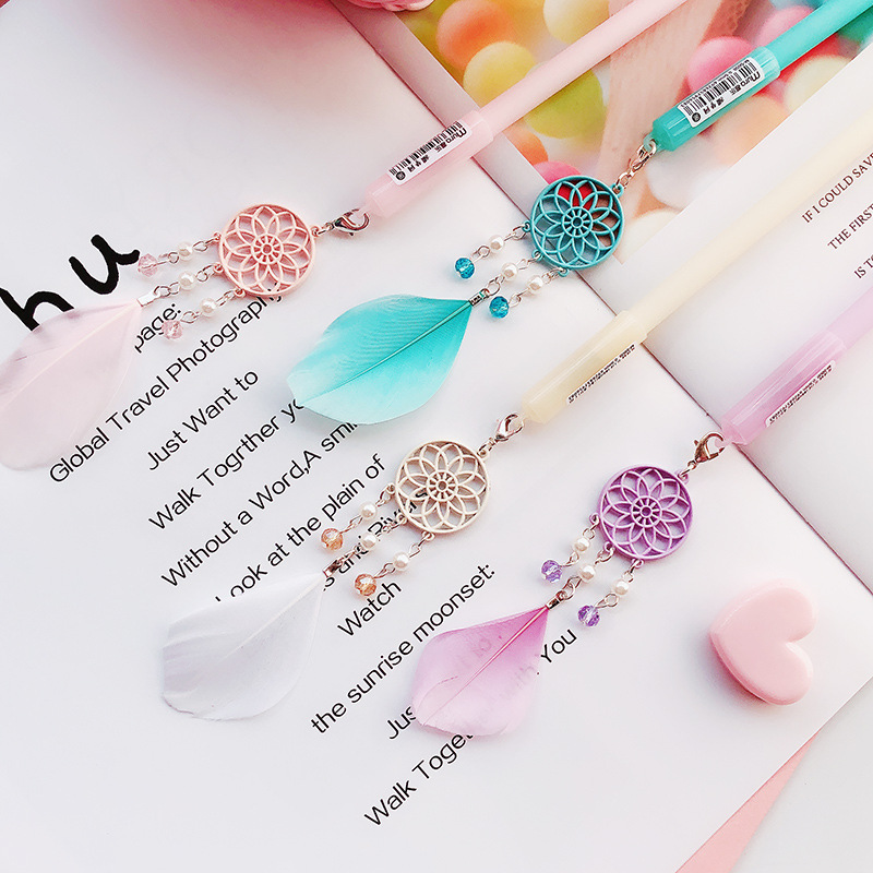 1 Pcs Creative Cute Small Fresh Feather Pendant Gel Pen Student Kawaii Prize Gift Office Write Signing Pens Supplies Stationery