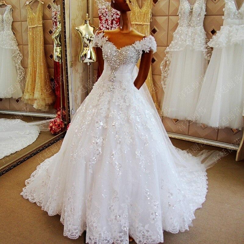 Vraie robe de mariée de luxe blanc ivoire Applique dentelle perles cristal avec Cape robes de mariée 2019 robe de mariée sur mesure