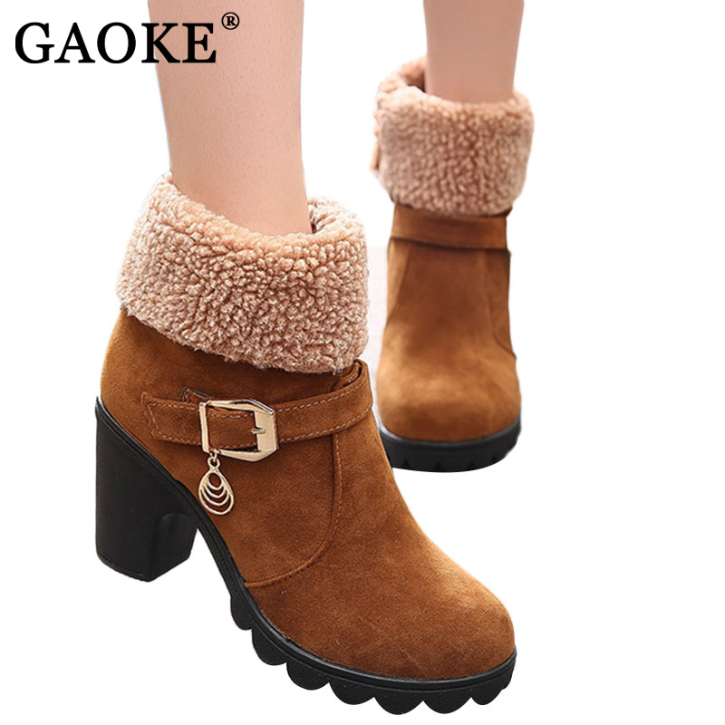 GAOKE Autumn Winter Women Ladies Shoes Leather Boots