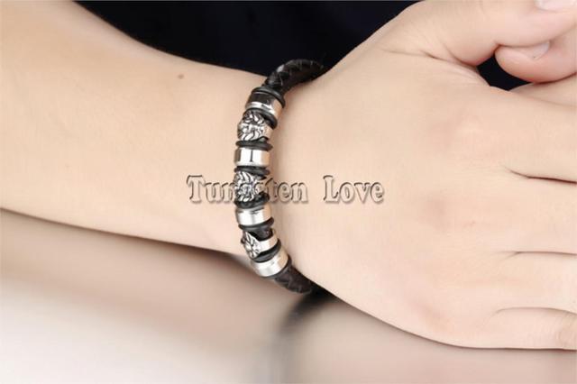 Мужской винтажный классический плетеный браслет с бисером 84