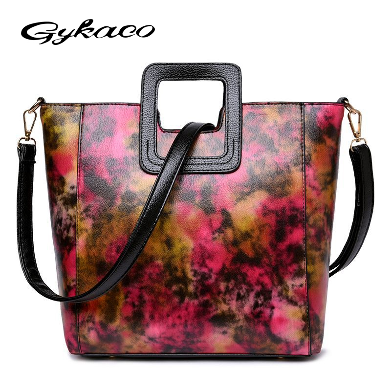 Gykaeo Female Printing Floral PU Leather Tote Bag Ladies Fashion Shoulder Bags Handbags Women Famous Brands Messenger Bag Bolsas luxury famous brand women female ladies casual bags leather hello kitty handbags shoulder tote bag bolsas femininas couro
