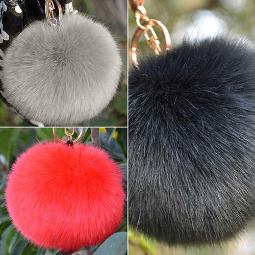 Moda quente peludo bola chaveiro saco chave pendurado acessórios da cauda coelho pele chaveiro fofo bola chave pendurado acessório 6spk 7hqr