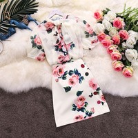 Two piece set floral print Rose Bows Shirts top and skirt set Summer 2019 elegant party slim Nice runway midi skirts suits CC209