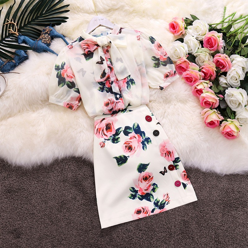 Two Piece Set Floral Print Rose Bows Shirts Top And Skirt Set Summer Elegant Party Slim Nice Runway Midi Skirts Suits CC209
