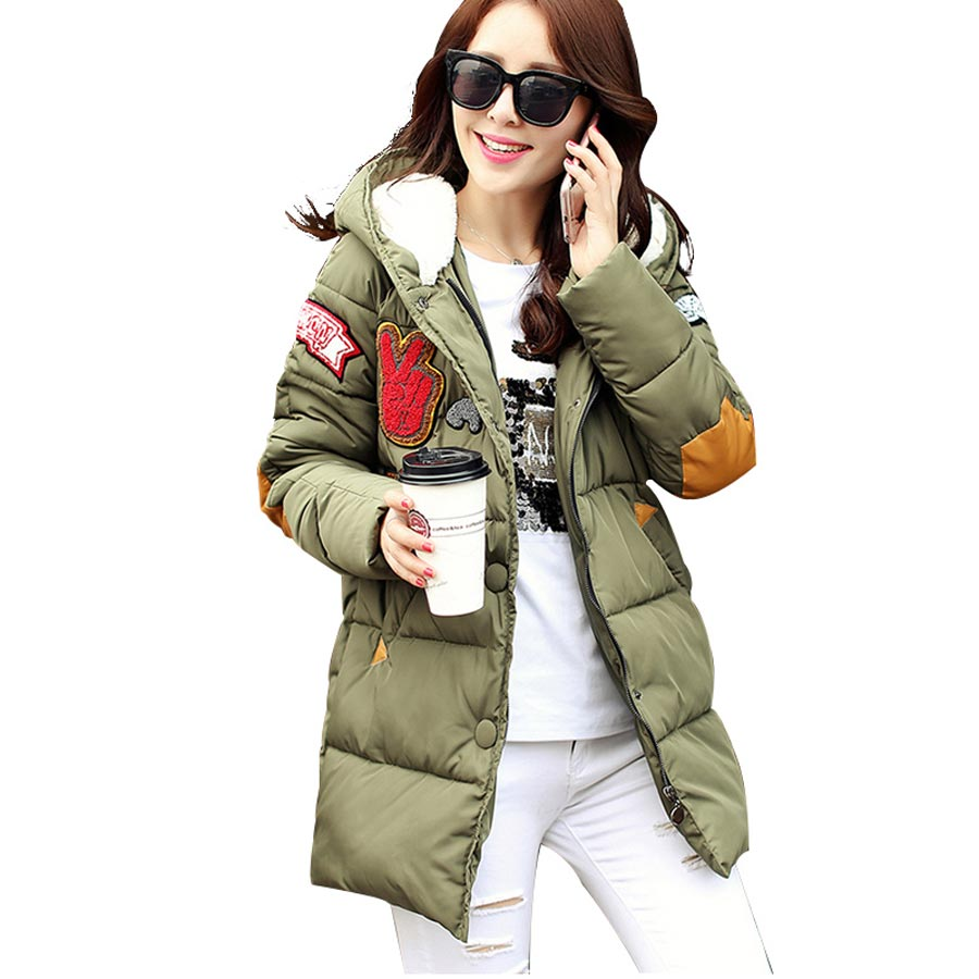 New 2016 Winter Women Wadded Jacket Coat Plus Size Hooded Long Down Cotton Outwear Letter Print Thick Casual Warm Parka BL1287 new 2016 winter cotton coat women slim outwear medium long wadded jacket thick hooded cotton wadded warm cotton parka plus size