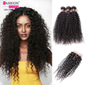 Cabelo brasileiro virgem com fecho de cabelo humano weave 3 bundles com lace closure brasileiro kinky curly virgem cabelo com fecho