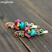 (2 Pcs/Lot ) Retro Metal Flower Hairpins Pairs Hair Clip Antique Metal Hair Accessories For Women