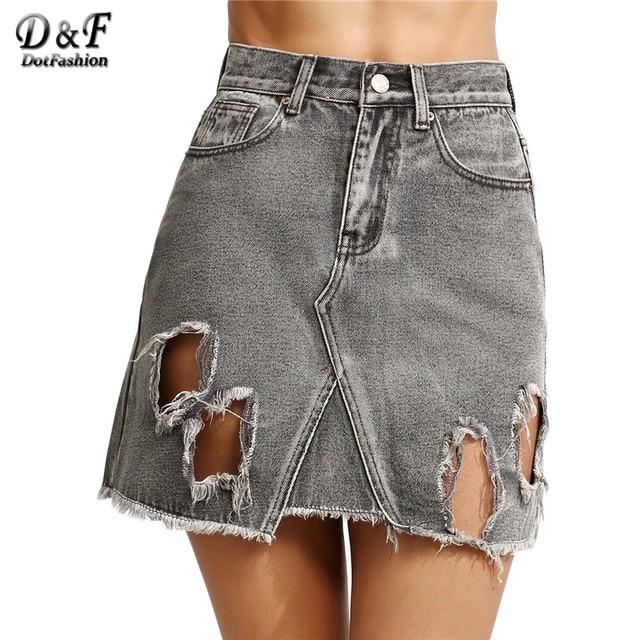 Dotfashion Skirts Womens New Arrival Fashional Women Mini Skirt Summer Grey Ripped High Waist A Line Denim Skirt