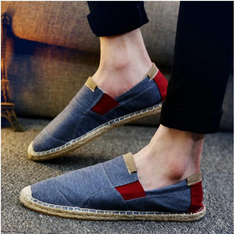 2018 New Fashion Men Loafers Breathable Flat Man Hemp Summer Style Shoes Espadri