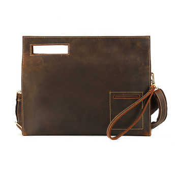 Leather Folder for Documents Office Retro Nature Cow Leather Document Bag Multifunctional Paper File Bags Holder 35*6.5*28 cm