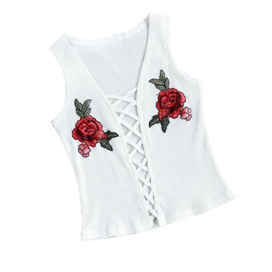 snowshine YLI Women Fashion Sexy Appliques Rose Sleeveless Tanks Camis Tops Blouse