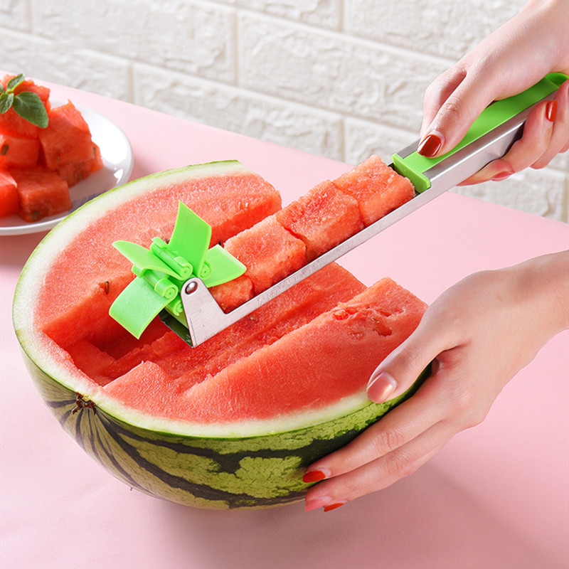 NEW Watermelon Cutter Multi Melon Slicer Cutting Machine Stainless Steel Windmill Fruit Household Artifact Kitchen Tool(China)