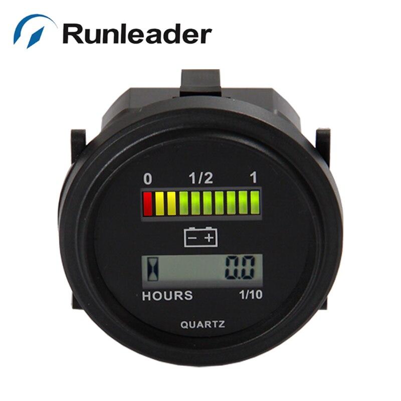 Freeshipping RL-BI004 Heure Mètre LED Voltmètre batterie indicateur avec compteur horaire pour Golf Panier Chariot Élévateur 12 V 24 V 36 V 48 V 72 V