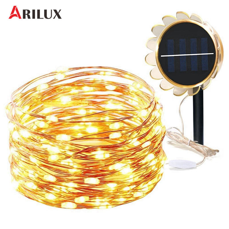 ARILUX Solar LED Light String 10M 100Leds DC 2V/180mA 8 Modes Waterproof Copper Holiday Light For Party Wedding