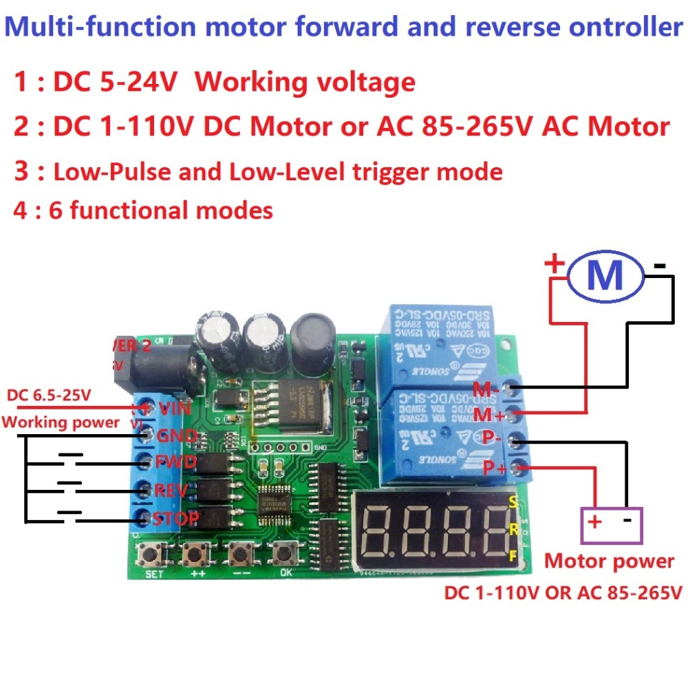 5pcs Multifunction AC DC Motor Reversible controller Timing Non-locking Forward Reverse Control For Motorcycle Electromobile