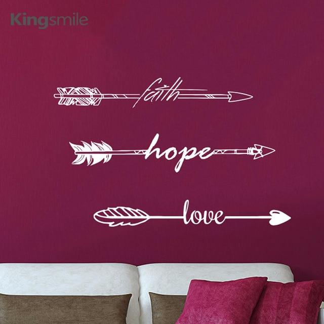 modern faith hope love arrow quotes wall stickers vinyl wall art