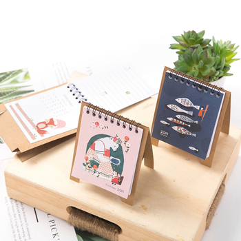 2019 Cute Cartoon Animals Series Calendars Mini Table Desk Calendar Office Work Learning Schedule Periodic Planner Stationery