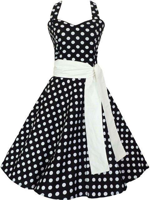 Plus Size Dress Vintage Polka Dot Black White Rockabilly Bohemian