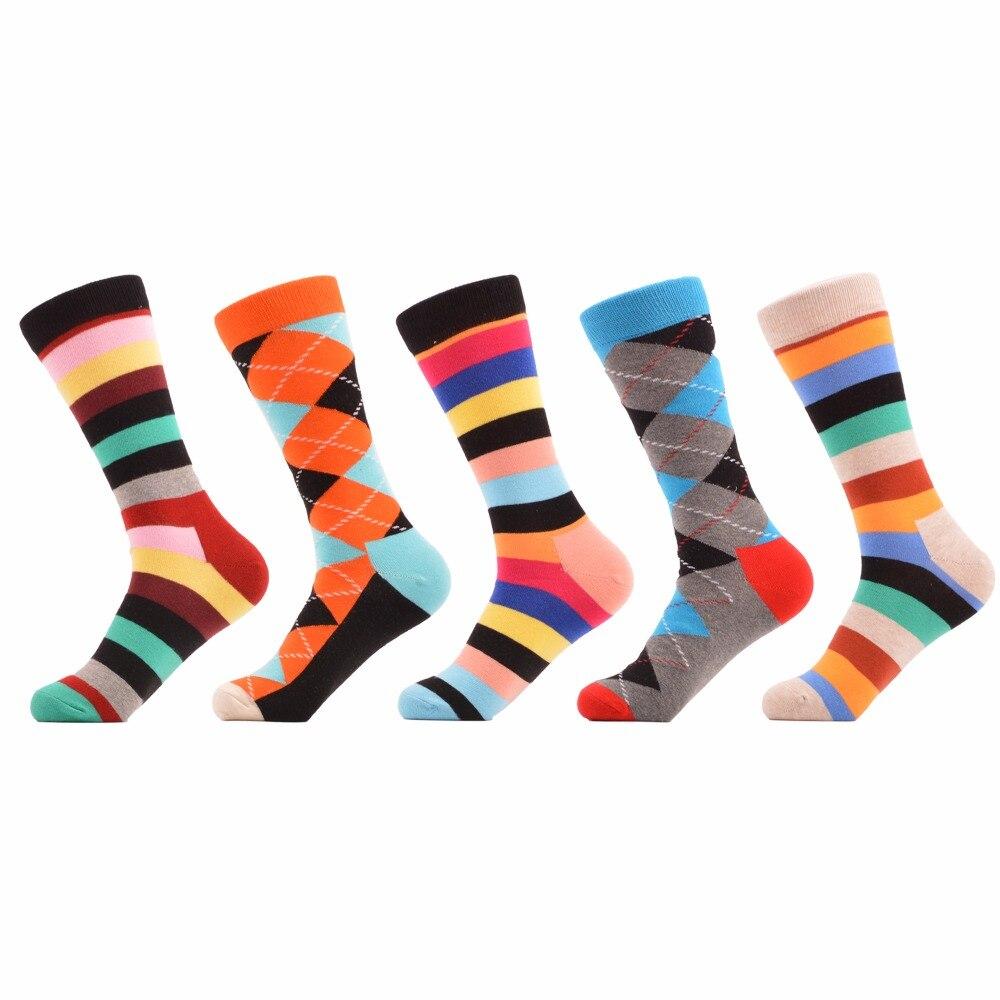 SANZETTI 5 pair/lot Luxury Cool Striped Argyle Bright Colorful Skateboard Socks Combed Cotton Men Socks Dress Socks Size EU40-47