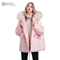 Korean Down Coat Female 2018 Casual Loose Plus Size Winter Jacket Women Mid Long Big Hair Collar Fashion Thicker Overcoat J162