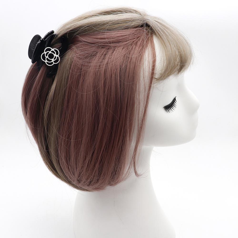 Nouveau Coreen Blanc Rose Fleur Cheveux Griffes Clip Mignon