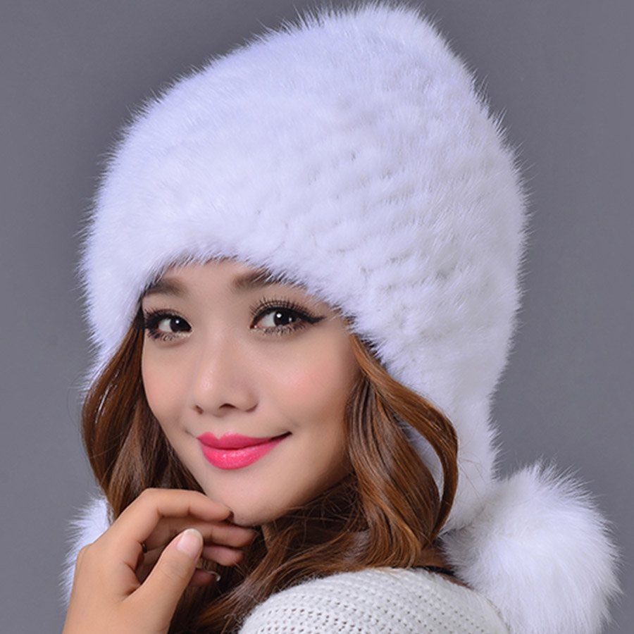 Mink Fur Pompoms Women Hats Knitted Winter Warm Skullies & Beanies Cable Knit Caps with Plus Balls Russian Female Beanie mink skullies beanies hats knitted hat women 5pcs lot 2299