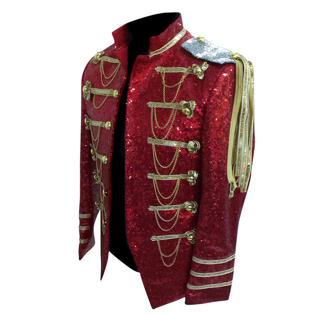 93fd3029 Men Stage Wear Stage Costume Blazer Hombre Mens Red Sequin Blazers Blaser  Masculino Silver Sequin Jacket with Tassels and Chains