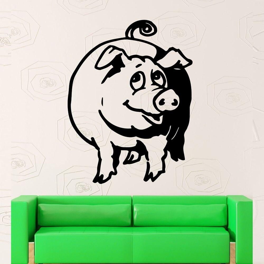 Свинья стены винила Книги по искусству Наклейки Гостиная украшения забавные животные на стены деревни фермы росписи декора милый съемный С...