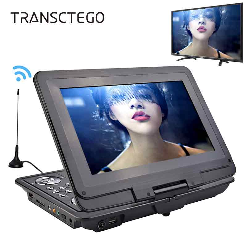 TRANSCTEGO DVD Player Portable Car TV 13.9 Inch Big players LCD Screen For Game FM DVD VCD CD MP3 MP4 with Gamepad TV Antenna image