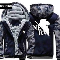 Новые зимние теплые Евангелион Толстовки Аниме EVA пальто с капюшоном толстые молния мужчины кардиган куртка толстовка