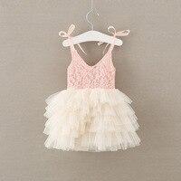 שמלת ילדה פרח אופנה חדש הקיץ ורוד חתונה שנהב תחרת mesh טול נסיכת שמלת המפלגה שמלות רצועת טוטו 2-7y