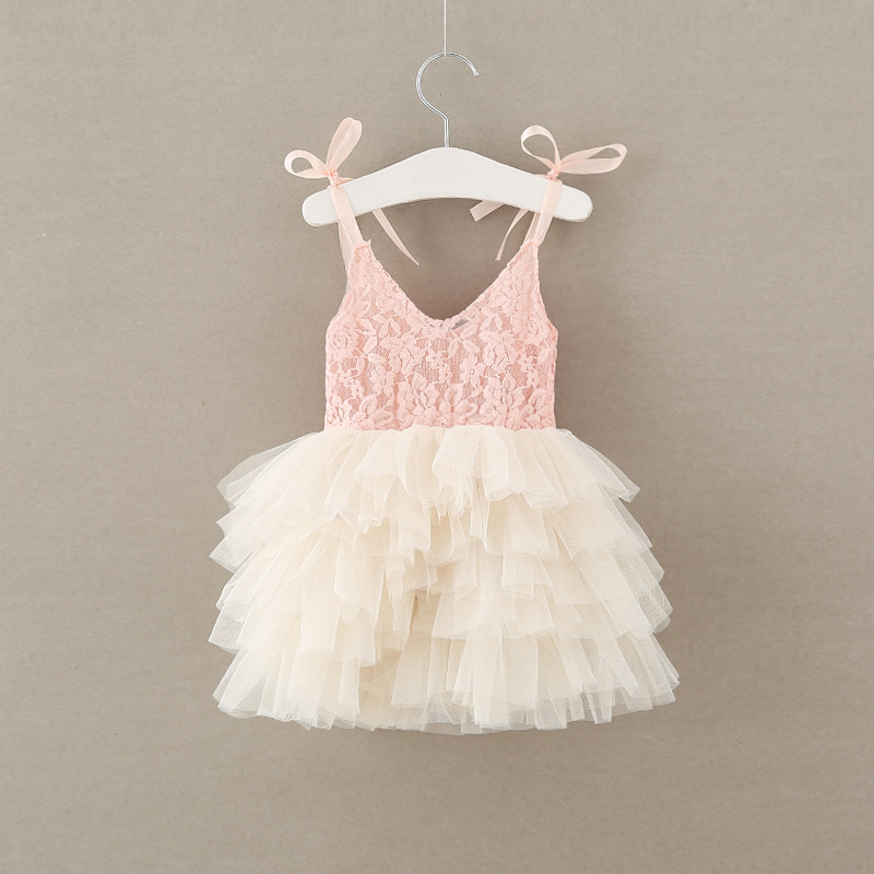 Summer new Fashion Flower Girl Dress pink ivory lace mesh Tulle Wedding Party Dress Princess strap tutu Dresses 2-7y