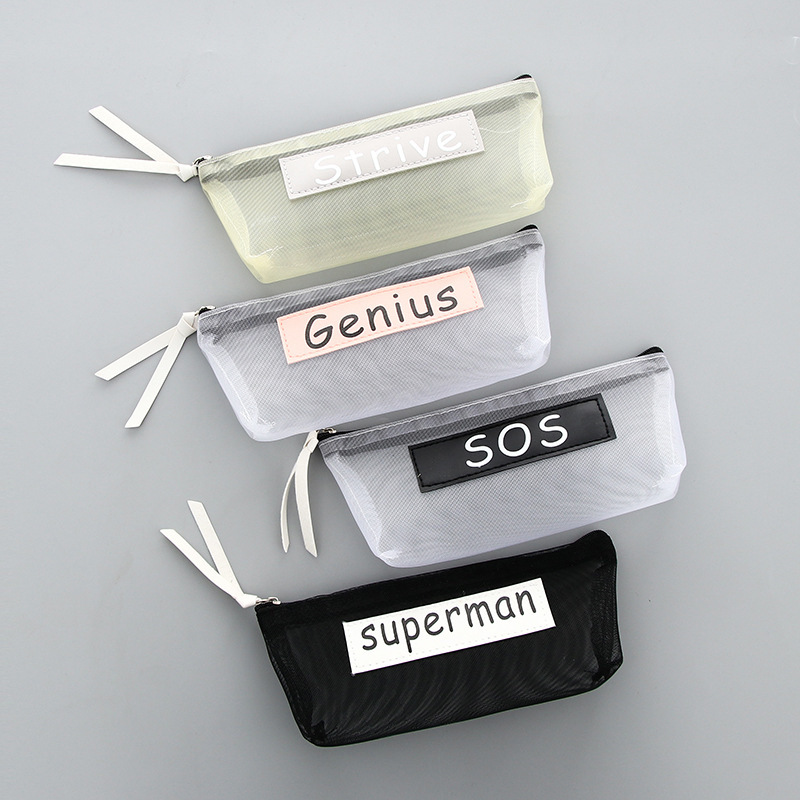 Creative Nylon Mesh Transparent School Pencil Cases Bags Simple Pen Bag Box Pouch Kids Gift OfficeStationary Supplies 04969