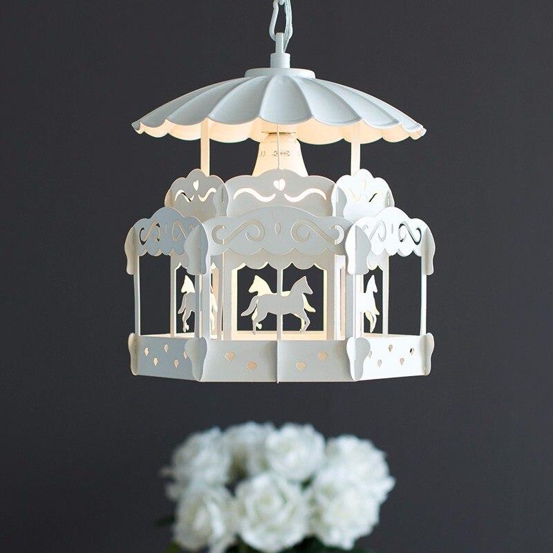 Nordique moderne minimaliste carrousel chambre d'enfants lustre personnalité créative salon chambre princesse lampe affranchissement gratuit - 3