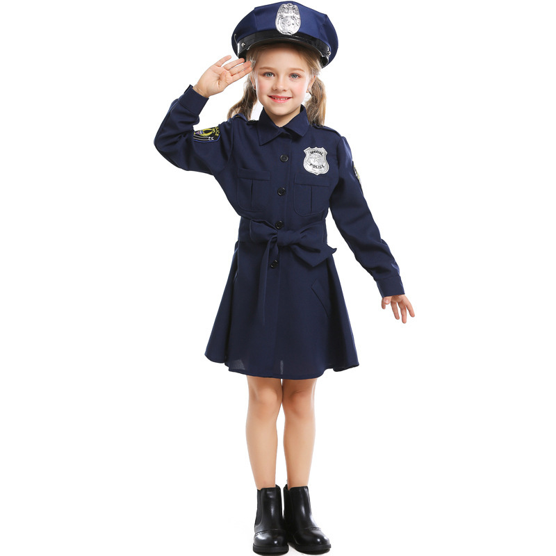 Kids Girls Clothes Set Halloween Cosplay Costume Stage Performance Pleated Dress Police Uniform+ Belt+ Cap Children Suits 3 11T