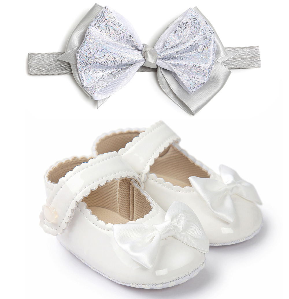 Baby Girl Patent Leather Shoes Baby Princess Newborn PU Shoes Soft Infants Christening Shoes Baptism Bow First Walker + Headband