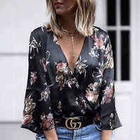 2019 New Womens Tops And Blouses Fashion Long Sleeve Floral Silk Shirts Blouses Summer Outwear Women Ladies Outfits Shirts